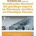 Webinar sobre Acreditación Nacional Psicólogo Experto en Psicología Jurídica y/o Forense